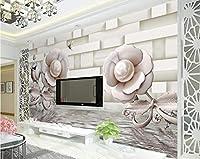 Mingld カスタム壁紙3Dステレオバラ水反射テレビの背景の壁のリビングルームの寝室の壁画3Dの壁紙-200X140Cm