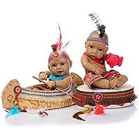 NPKDOLLリボーンベビードールインドスタイルブラックスキン11インチ 28センチメートルハードシリコーンビニール防水少年少女のおもちゃのボートとドラム 人形 Reborn Baby Doll A1JP