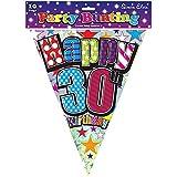 (サイモン・エルヴィン) Simon Elvin 30歳の誕生日 Happy Birthday バナー ガーランド 旗飾り デコレーション (12ft) (マルチカラー)