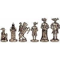 Knightsチェスセット – 真鍮&ニッケル – Middle Age – チェスセットパッケージ – ブラウンボード