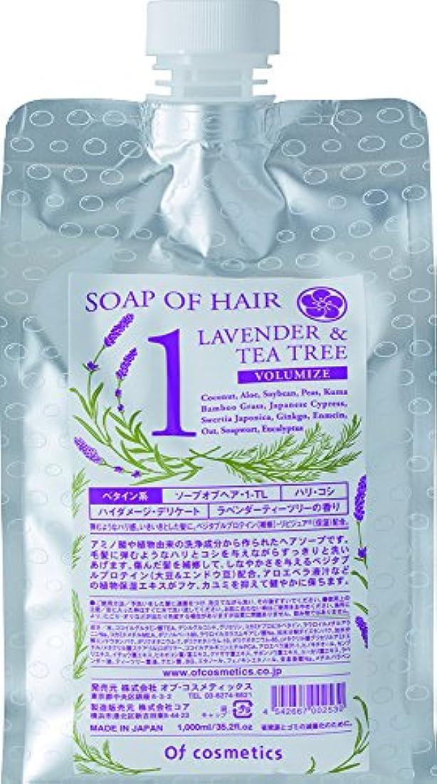 長々とレキシコンアラブサラボオブ・コスメティックス(Of cosmetics) オブ・コスメティックス ソープオブヘア・1-TL エコサイズ (ラベンダーティーツリーの香り) 1000ml 洗い流すタイプ 詰替え用