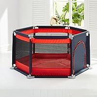 赤ちゃんPlaypenフェンスのためのドアを持つ屋内折り畳まれた再生ヤード6パネルキッズ男の子の女の子アウトドアホーム、赤 (色 : Playpen+mat)