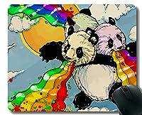 Yantengマウスパッド付きステッチエッジ、成人用動物パンダ、マウスマット、滑り止めラバーベースマウスパッド(ラップトップ用)、コンピュータ