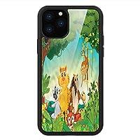 iPhone 11 Pro Max 用 強化ガラスケース クリア 薄型 耐衝撃 黒 カバーケース 動物園 森林環境ジャングル生息地 iPhone 11 Pro 2019用 iPhone11 Proケース用