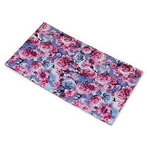 パール メガネケース 片口 花柄 ソフトケース ブルー