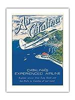 サンタカタリナ島、カリフォルニア州 - Grumann Goose 水陸両用機 - エアカタリナ - ビンテージな航空会社のポスター によって作成された ゲリー・ミルティモア c.1970s -プレミアム290gsmジークレーアートプリント - 46cm x 61cm