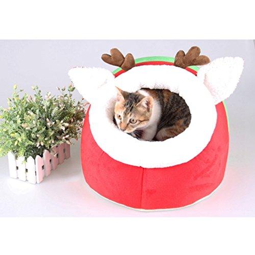 ペットベッド ドッグ キャット クリスマス風 ペットハウス 室内用 小型犬 猫 ドーム型ペットベッド クッション マット 洗える 犬小屋 猫ハウス