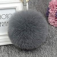【InfoMine】ファーチャーム リアルフォックスファーボール バッグチャーム 携帯ストラップ レディース 11cm fur keychain (グレー)