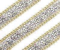 50cm1.7Ft0.55ヤードAB銀アイリスホロRhinestonesゴールドチェーンのトリムで平坦結晶のリボンサッシの仕事の内容を縫うように接着剤に結婚DIY供給19mm