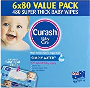 Curash Water Baby Wipes 6X80 PK