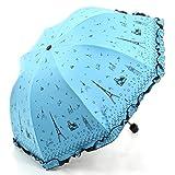 haruju パリの街並み 晴雨兼用 傘 折りたたみ フリルがかわいい レディース UVカット 日傘 雨傘 (ブルー)
