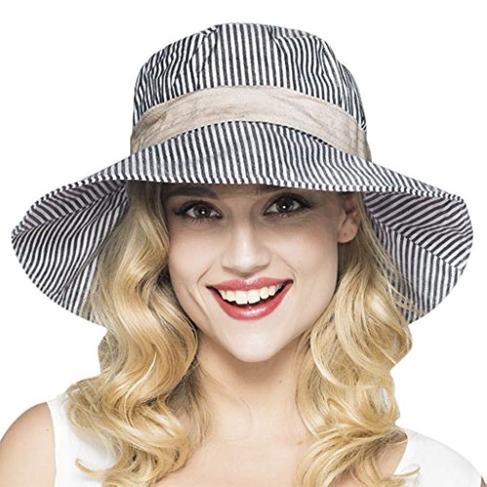 第プレーヤー自明帽子メス夏抗UVストライプBasin帽子Fisherman Hat upf50 +サンシェード広いつばビーチハットアウトドア帽子サンバイザーハットレジャーPackable Floppy Roll Up折りたたみ式ガーデニングアンチ汗ハイキングキャップ