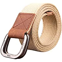 VTIAO Belt Casual Waistband Outdoor Retro Canvas Tactical Belt Braided Double Ring Buckle Breathable