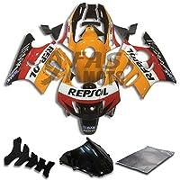 9FastMoto honda ホンダ 1997 1998 CBR600F3 CBR600F 97 98 CBR 600 F3 用フェアリング オートバイフェアリングキット ABS 射出成形セット スポーツバイク カウル パネル (オレンジ & ブラック) H0733
