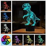 3Dイリュージョンランプ、恐竜ギフト玩具装飾LEDナイトライトランプ7色タッチコントロールUSBパワードパーティー装飾ランプ、3Dビジュアルランプ用ホームデコレーションクリスマス誕生日プレゼント