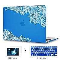 Redlai 新型 MacBook Pro 13 インチ Touch Bar 超薄型 軽量プリントカバー レース印刷ケース ハードカバー 対応モデル(1706/A1989) Pro 13.3 インチ 専用シェルカバー ハードケース 液晶保護フィルムと日本語キーボードカバー付き(M107 ダーク ブルー)