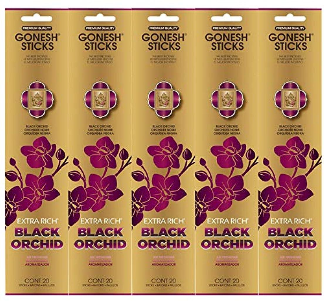 キャストバルセロナ謝罪Gonesh お香スティック エクストラリッチコレクション - ブラックオーキッド 5パック (合計100本)