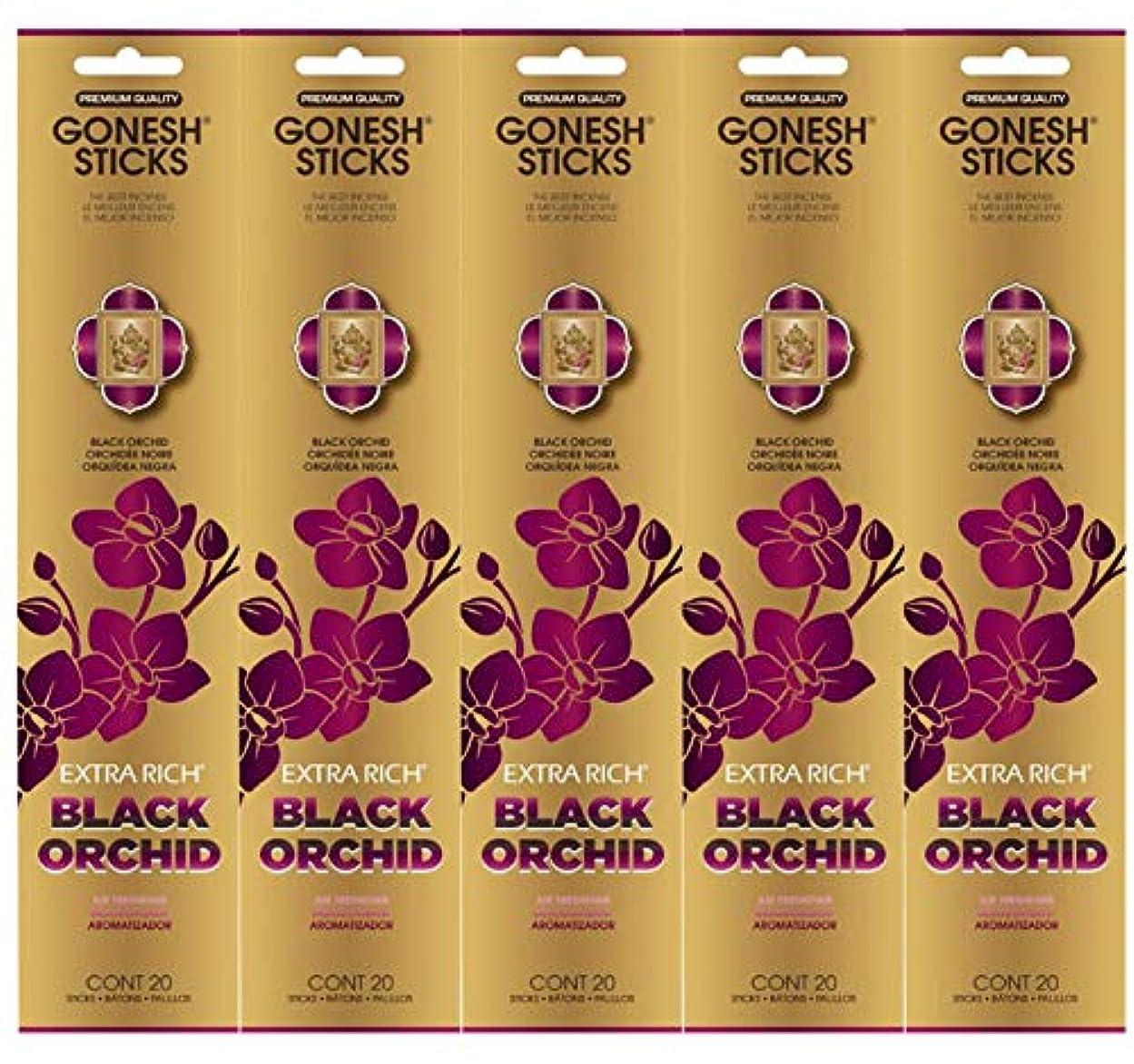 起業家どこでも哲学者Gonesh お香スティック エクストラリッチコレクション - ブラックオーキッド 5パック (合計100本)