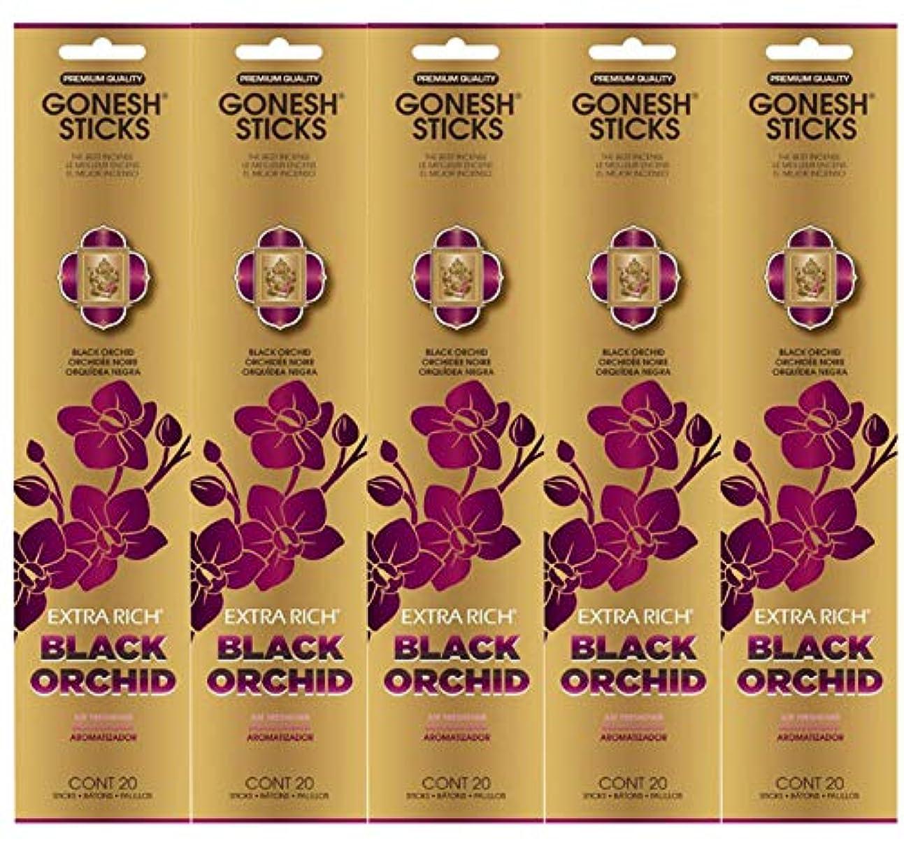 昇るスラダムファセットGonesh お香スティック エクストラリッチコレクション - ブラックオーキッド 5パック (合計100本)