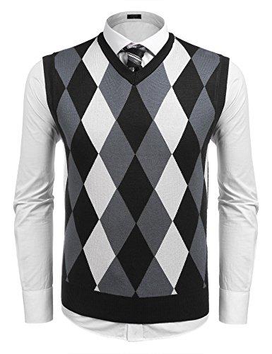 [해외](쿠 펀디) Coofandy 베스트 남성 스웨터 ⅴ 넥 니트 조끼 체크 무늬 레이어드 마름모꼴 캐주얼 비즈니스 가을 겨울 멋쟁이 신사 멋진 블랙 와인 레드 네이비 S ~ XXL/(Kuufandi) Coofandy Best Men`s Sweater v Neck Knit Vests Check Pattern Overl...