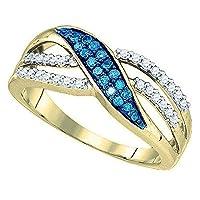 0.40カラットCTW10Kゴールドラウンドブルー&ホワイトダイヤモンド分割シャンクカクテルファッション右手リング