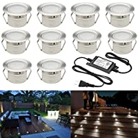 "Sumaote Low Voltage LED Deck Light Kit Φ1.85"" Waterproof Recessed Deck Lamp LED In-ground Lights for Step Stairs Outdoor Garden Yard Patio Landscape Decor Cool White, Pack of 10 [並行輸入品]"