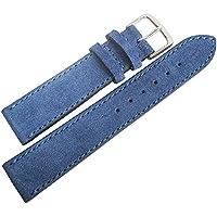 Fluco 20mmロイヤルブルースエードレザーgerman-madeメンズ腕時計ストラップ