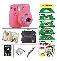 Fujifilm Instax Mini 9 Instant Camera (Flamingo Pink) + Fujifilm Instax Instant Film 100 Sheets + 4 Batteries Charger + Photo Album +Convenient Case + MORE