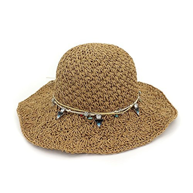 Ruiyue 夏のストロー帽子、女性のための夏の太陽のビーチ帽子大きな手すり織りの麦わら帽子