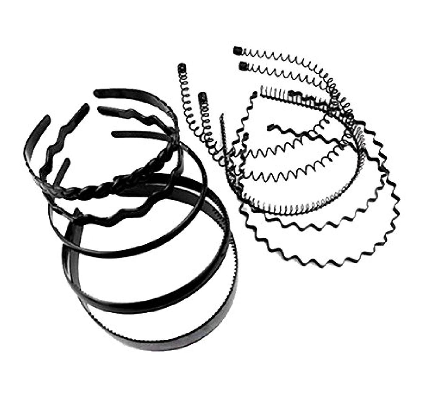 ゆりかご古代パノラマ女の子のための黒い春の金属の毛のフープ男性ヘッドアクセサリー(パック10個)、A4