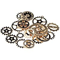 F Fityle 50g Assorted Steampunk Filigree Gears Charm Pendant Finding Cogs Disc Craft