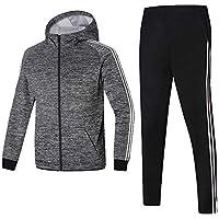 GEEK LIGHTING Men's Outdoor 2 Piece Jacket Pants Track Suit Sport Sweat Suit Set (A-Gray, Large)