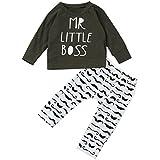 Mr Little Boss  2点セット(上着+パンツ) ベビー服 女の子 赤ちゃん服 幼児 子供服 男の子 長袖 4サイズ キッズ服 ロンパース カバーオール 満月/出産祝い/プレゼント70CM-80CM-90CM-100CM(0ヶ月-24ヶ月) (80CM/6-12ヶ月, 写真のように)