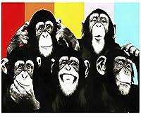 LovetheFamily チンパンジー 数字油絵 数字キット塗り絵 手塗り DIY絵 デジタル油絵 ホーム オフィス装飾 40x50cm (フレーム付き)