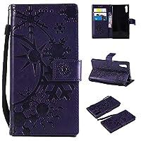 SONY Xperia XZ ケース CUSKING 手帳型 ケース ストラップ付き かわいい 財布 カバー カードポケット付き エクスペリアXZ マジックアレイ ケース - パープル