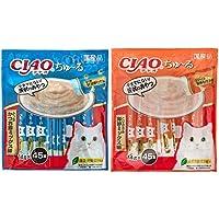 【セット買い】チャオ (CIAO) 猫用おやつ ちゅ~る かつお かつお節ミックス味 14g×45本入 & (CIAO) 猫用おやつ ちゅ~る とりささみ 海鮮ミックス味 14g×45本入