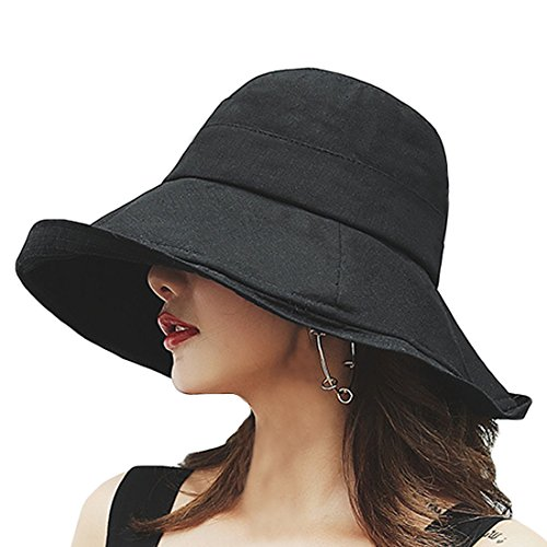 T-wilker UVカット 帽子 シャイニングキャスケット レディース 大きいサイズ つば広 小顔 ハット 日よけ 紫外線カット つば広ハット 女優帽 小顔効果抜群 (ブラック)