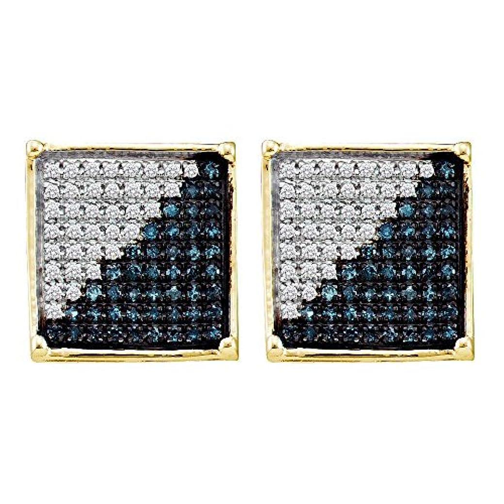 悲鳴相談を除くFB Jewels ソリッド 10カラット イエローゴールド メンズ ラウンドブルーカラー 強化ダイヤモンド スクエア クラスターピアス 1/2 Cttw