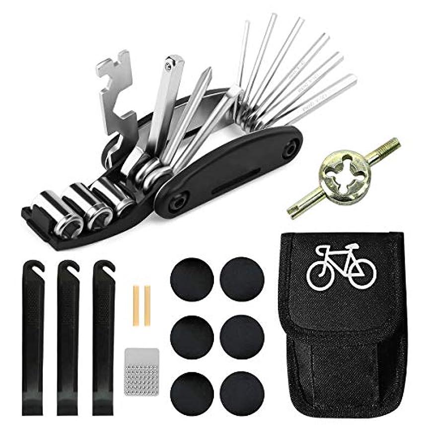 おもしろい救出挨拶自転車修理ツールキット バイク 16イン1 多機能修復道具 タイヤパッチ そして レバー 緊急用 パンク修理 工具