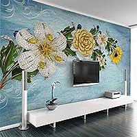 Bzbhart テレビの背景装飾画、壁用ステッカーカスタム写真の壁紙現代の宝石の花ヨーロッパスタイルの3D大きな壁画のリビングルームのテレビの背景の壁の装飾3Dの壁の布-120cmx100cm