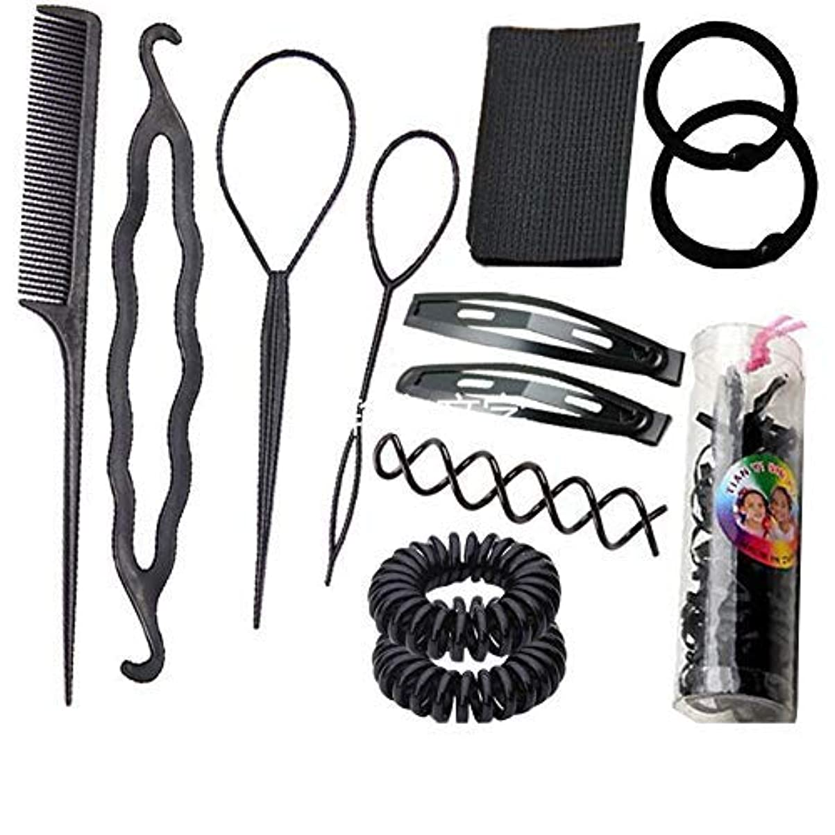 百科事典襟境界1 Set Black 13 in 1 Hair Style Making Accessories Kits Hair Comb Metal Hairpins Hair Tools Hair Ropes Fringes...