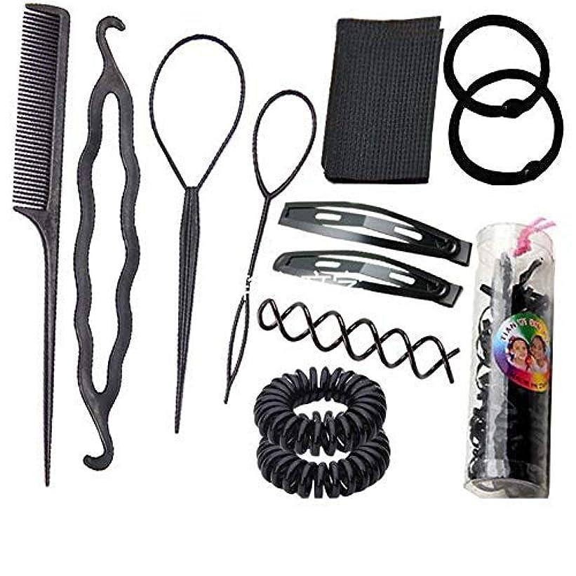 間に合わせ交流する誰も1 Set Black 13 in 1 Hair Style Making Accessories Kits Hair Comb Metal Hairpins Hair Tools Hair Ropes Fringes...
