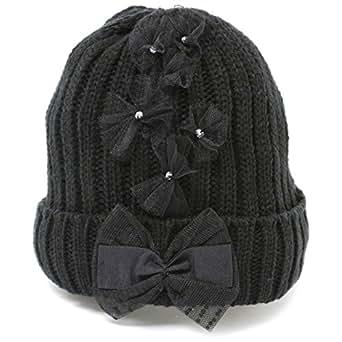ニット帽 レディースニット帽 可愛い チュールレース りぼん ニット帽子 ブラック (黒) 抗がん剤治療帽子 ケア帽子 ニット帽子 プリンセスのんの 通販