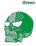 インパクト大 スカルステッカー ガイコツ 骸骨 頭骨 防水 緑 カッティングステッカー
