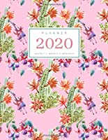 Planner 2020 Hourly Weekly Monthly: 8.5 x 11 Large Notebook Organizer with Hourly Time Slots | Jan to Dec 2020 | Watercolor Cactus Flower Design Pink
