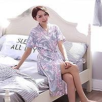 Yonshon Stylish Women Girls Short Sleeves Flowers Pattern Bathrobe Cotton Nightgown Pajamas Bathrobe