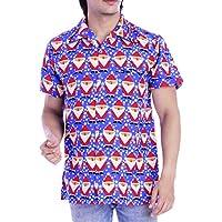 Virgin Crafts Men's Christmas Hawaiian Shirt Holiday Santa Claus Casual Black Party Shirt