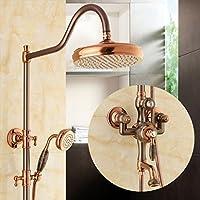 ALUP- ヨーロッパスタイルの天然翡翠シャワー装置シャワーセットアメリカンスタイルのすべての青銅模造古代の高温と冷たい蛇口シャワー装置 (設計 : B)