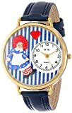 ラガディ・アン 紺レザー ゴールドフレーム時計 #G0220003