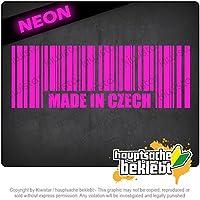 チェコのバーコードプラハで作られた Made in Czech Barcode Prague 20cm x 7cm 15色 - ネオン+クロム! ステッカービニールオートバイ